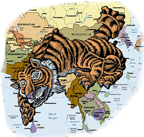 (Tiger in shape of India and China, on map)