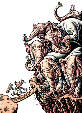 "(elephants can't cross bridge that mouse can) ""While big drug-makers stumble, their nimbler rivals are delivering products - and profits""  ""If you're looking for a growth play in the drug business, small is better.  Small Pharma, known to Wall Streeters as the specialty pharmaceuticals sector, is brimming with innovative little companies that are often overlooked by investors.""  So for this one, it was definitely going to be a big/small theme. What's big? What's small? Aesop's fables were some of my favorite reading as a kid, so I think that influenced my love of allegorical animals."